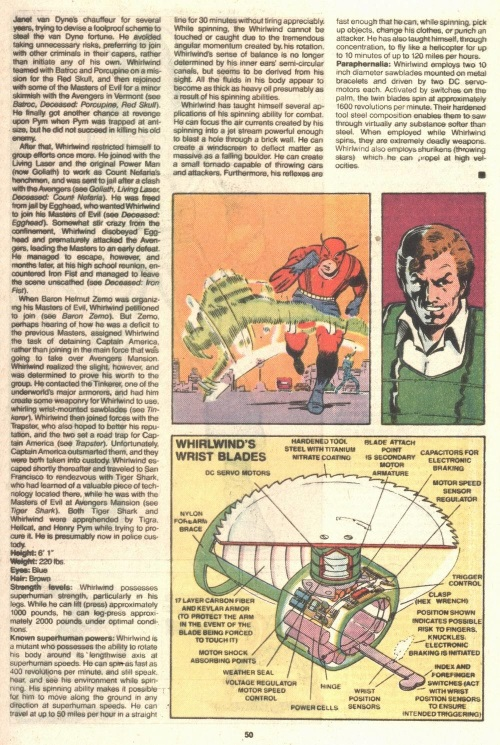 Air Manipulation–Whirwind-Official Handbook of the Marvel Universe V2 #14-52