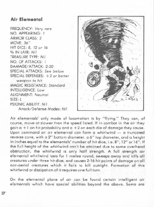 Air Mimicry-Air Elemental-AD&D 1st-Monster Manual