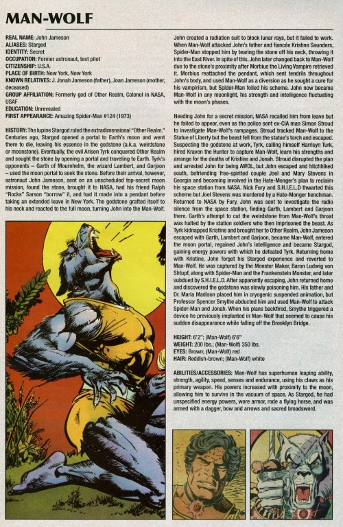 Animal Mimicry (hybrid)-Man Wolf-Marvel Legacy The 's Handbook #1 (1970)