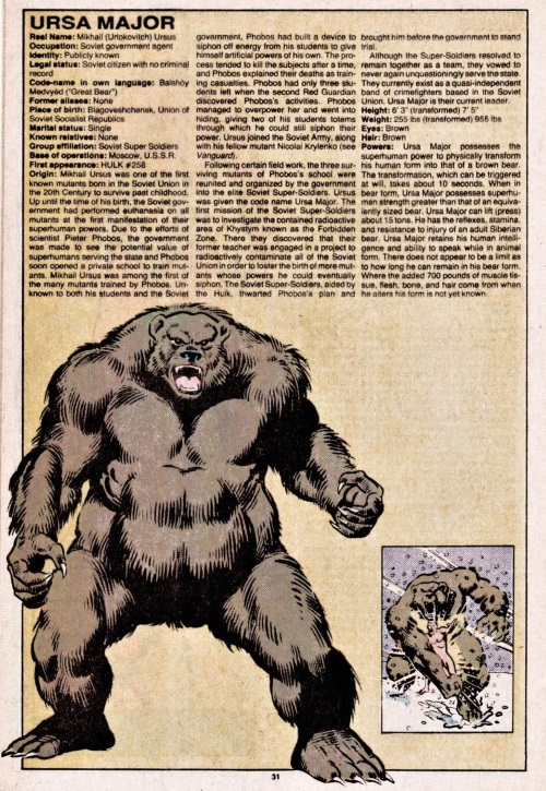 Animal Mimicry (one)-Ursa Major-Official Handbook of the Marvel Universe V1 #11