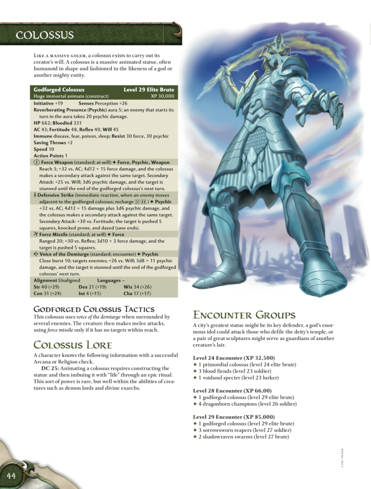 Animate Objects-Colossus-God Forged Colossus-D&D 4th Edition - Monster Manual 1
