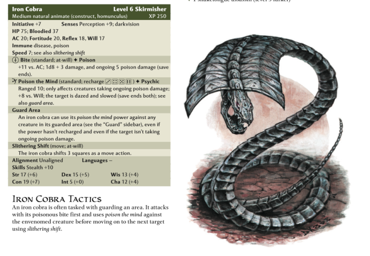 Animate Objects-Homunculus-Iron Cobra-D&D 4th Edition - Monster Manual