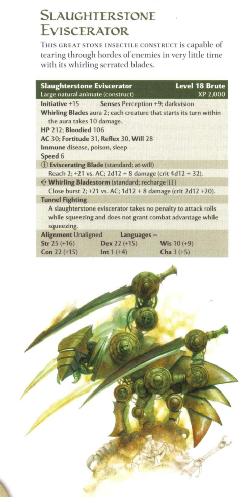 Animate Objects Slaughterstone Eviscerator-D&D 4th Edition - Monster Manual 2