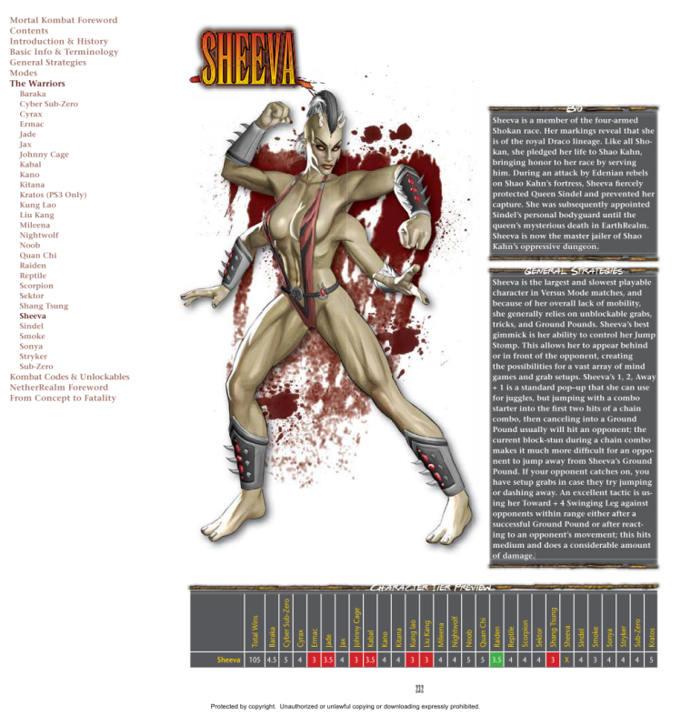 Appendages (arms)-MK-Sheeva-Mortal Kombat 9 (2011) Prima Guide