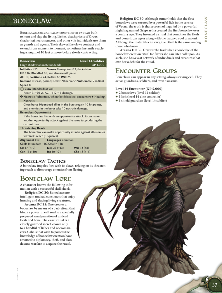 Appendages (fangs-nails)-Boneclaw-D&D 4th Edition - Monster Manual 1