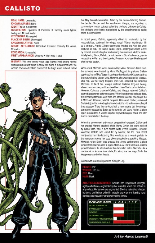 Appendages (tentacles)-Callisto-Official Handbook of the Marvel Universe #1 (2006)