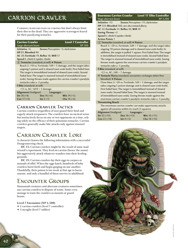 Appendages (tentacles)-D&D-Carrion Crawler-D&D 4th Edition - Monster Manual 1