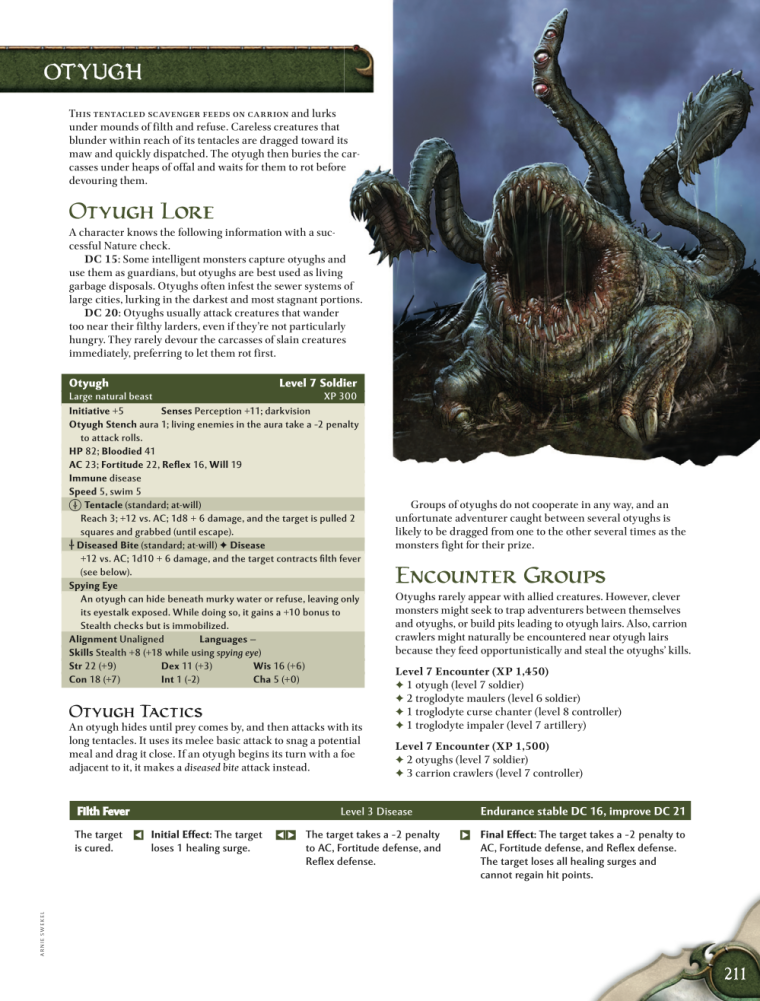 Appendages (tentacles)-D&D-Otyugh-D&D 4th Edition - Monster Manual 1