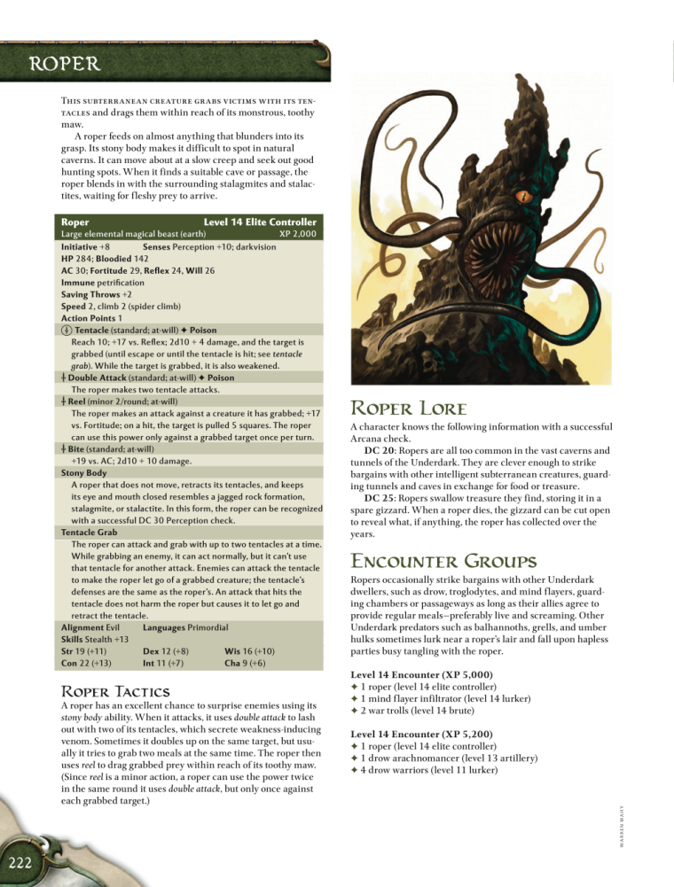 Appendages (tentacles)-D&D-Roper-D&D 4th Edition - Monster Manual 1