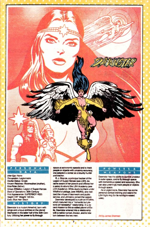 Appendages (wings)–Dawnstar-DC Who's Who Who's Who v1 #6