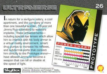 Armor (matter)-1993 SkyBox Ultraverse-26Bk Prototype