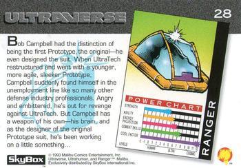 Armor (matter)-1993 SkyBox Ultraverse-28Bk Ranger