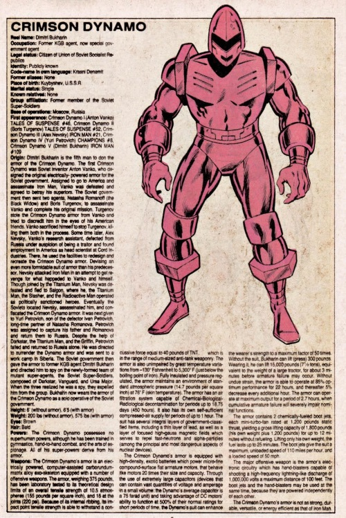 Armor (matter)-Crimson Dynamo-Official Handbook of the Marvel Universe V1 #3