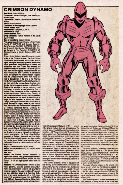Armor (matter)-Crimson Dynamo-Official Handbook of the Marvel Universe V1 #3