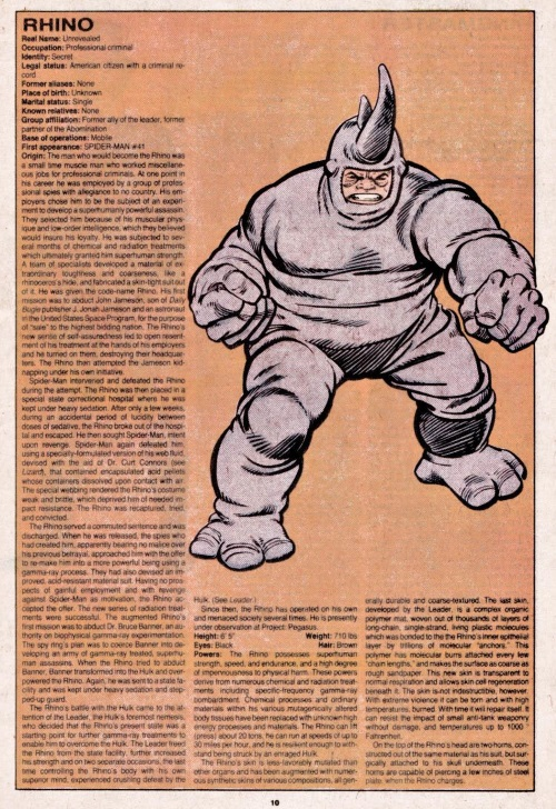 Armor (matter)-Rhino-Official Handbook of the Marvel Universe V1 #9