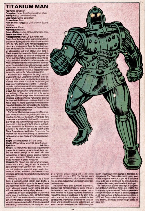 Armor (matter)-Titanium Man-Official Handbook of the Marvel Universe V1 #11