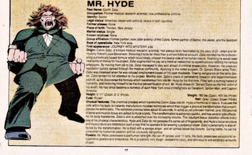 Biological Manipulation (freak)-Mister Hyde-Official Handbook of the Marvel Universe V1 #7