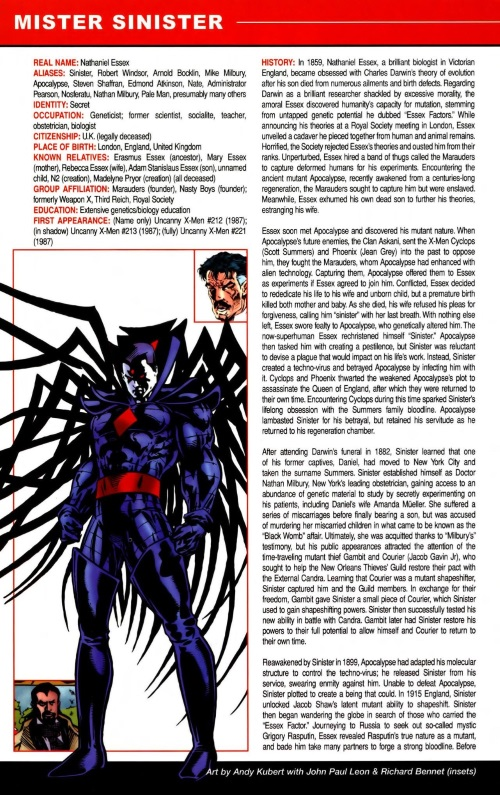 Biological Manipulation (others)–Mr. Sinister - All-New OHOTMU A to Z #7