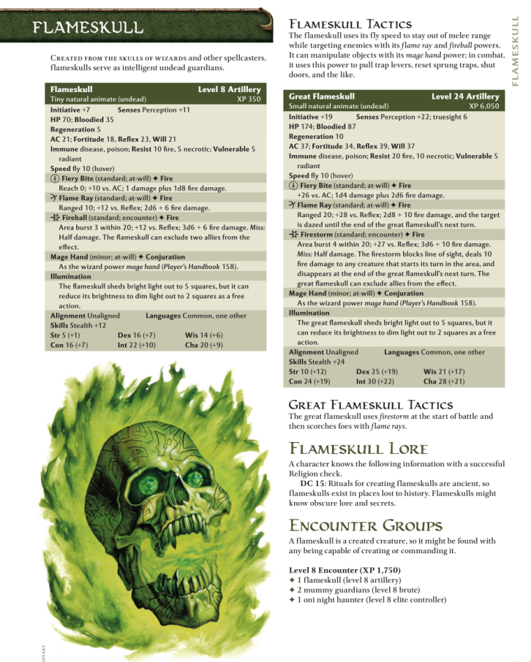 Body Part Disembodied-Flameskull-D&D 4th Edition - Monster Manual 1