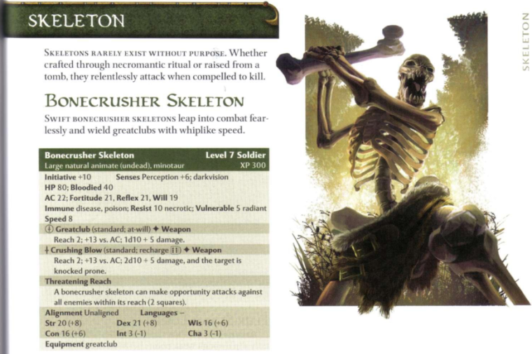 Bone Mimicry-Bone Crusher Skeleton-D&D 4th Edition - Monster Manual 2
