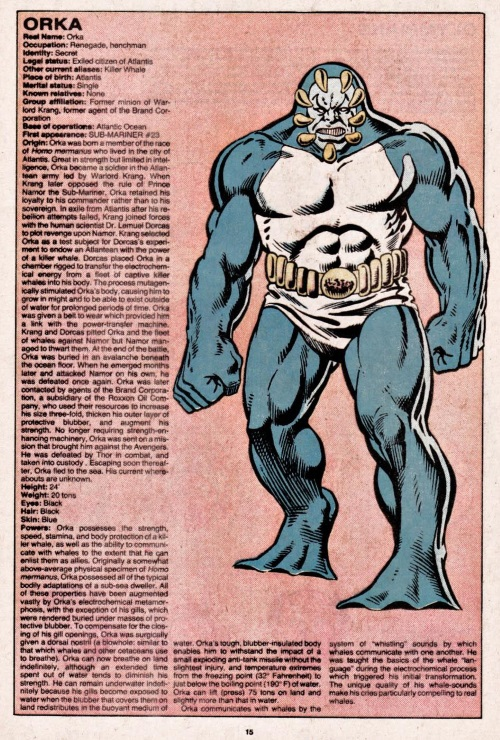 Cetacean Communication-Orka-Official Handbook of the Marvel Universe V1 #8