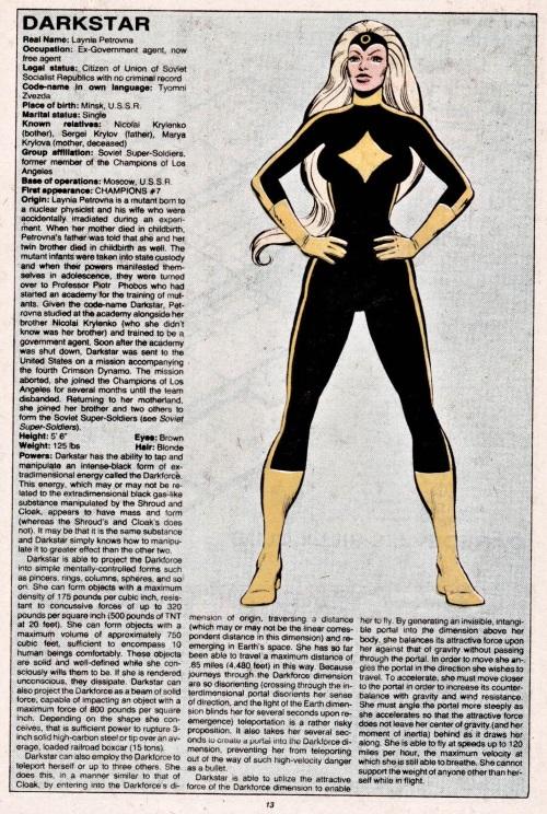 Darkness Manipulation-Darkstar-Official Handbook of the Marvel Universe V1 #3