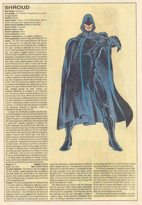 Darkness Manipulation-Shroud-Official Handbook of the Marvel Universe V1 #10