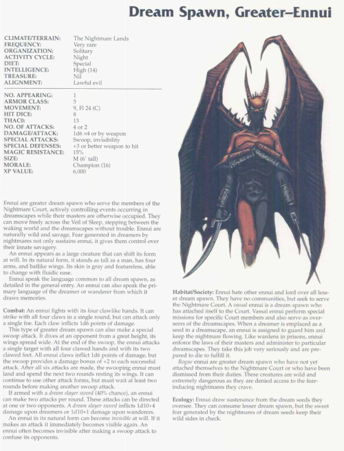 dream-manipulation-ennui-dream-spawn-tsr-2166-monstrous-compendium-annual-volume-3