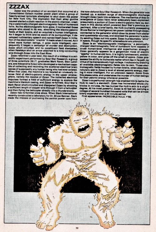 Electrical Mimicry-Zzzax-Official Handbook of the Marvel Universe V1 #12