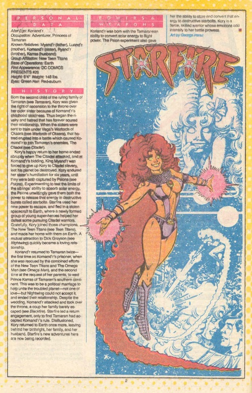 Energy Blasts–Starfire-DC Who's Who V1 #22