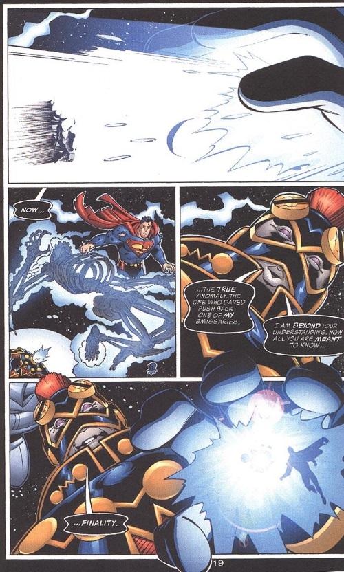 Entropy Manipulation–Imperiex blasts Doomsday-Adventures of Superman #594