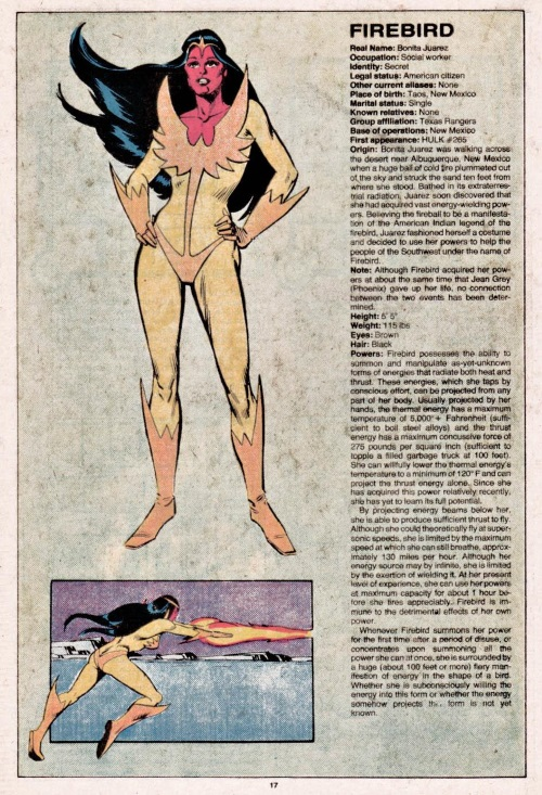 Fire Manipulation-Firebird-Official Handbook of the Marvel Universe V1 #4
