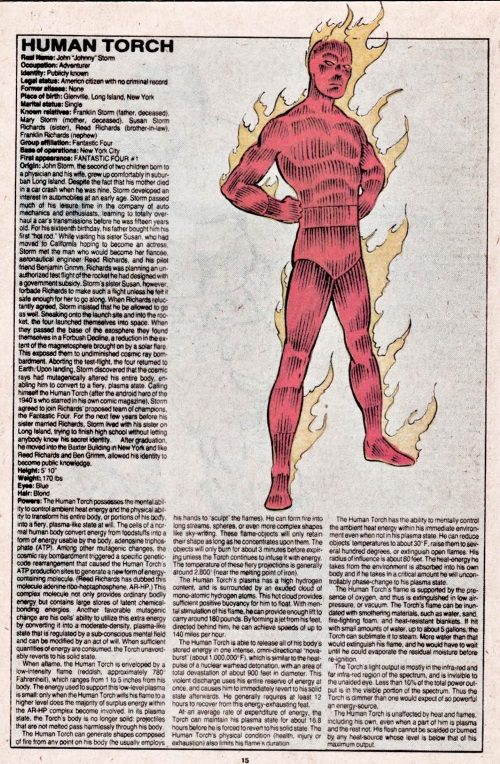 Fire Manipulation-Human Torch-Official Handbook of the Marvel Universe V1 #5