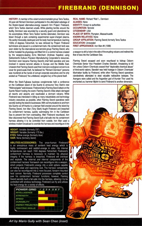 Fire Mimicry-Firebrand-Official Handbook of the Marvel Universe #1 (2010)