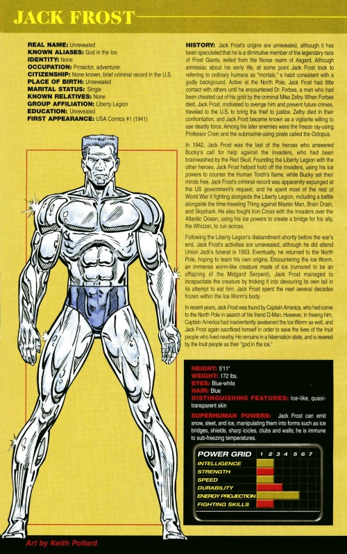 Ice Manipulation-Jack Frost-Official Handbook of the Marvel Universe #1 (2004)