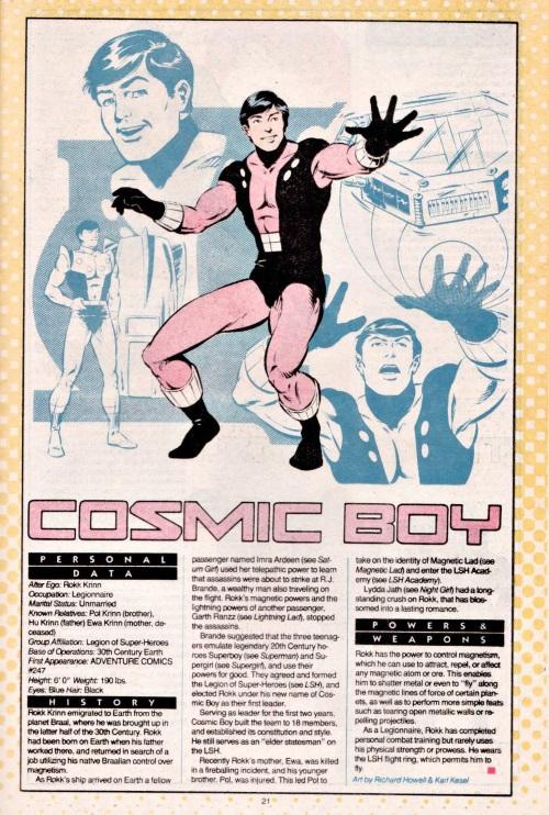 Magnetism Manipulation-Cosmic Boy-DC Who's Who V1 #5