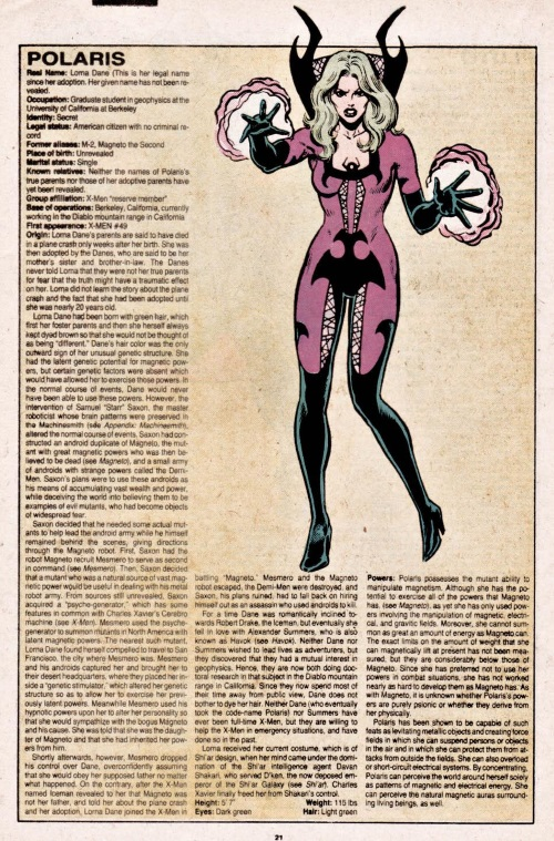 Magnetism Manipulation-Polaris-Official Handbook of the Marvel Universe V1 #8