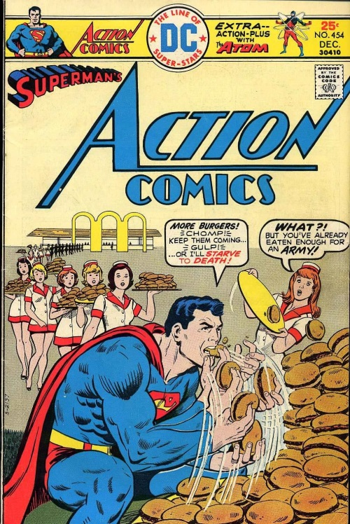 Matter Ingestion–Superman eats burgers-Action Comics V1 #454