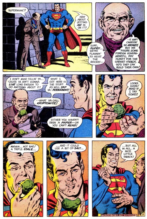 Matter Ingestion–Superman eats Kryptonite-Superman V1 #233