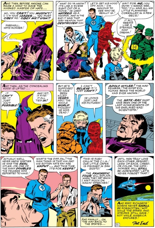 Memetic Manipulation–Hate Monger as Hitler-Fantastic Four V1 #21