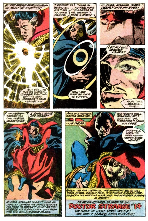 Mind Control (hypnotism)-Dracula vs Doctor Strange-Tomb of Dracula V1 #44