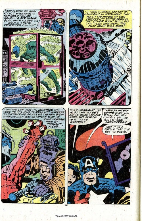 Mind Transfer–Arnim Zola-Captain America #209