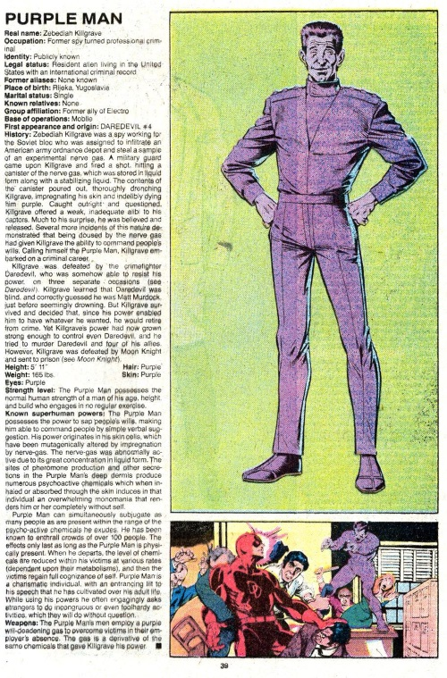 Pheromone Manipulation-Purple Man-Official Handbook of the Marvel Universe V2 #10