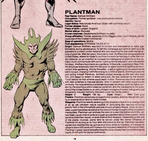 Plant Manipulation-Plantman-Official Handbook of the Marvel Universe V1 #8