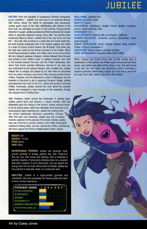 Plasma Manipulation-Jubilee-Official Handbook of the Marvel Universe #1 (2006)