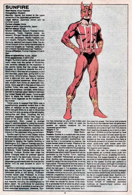 Plasma Manipulation-Sunfire-Official Handbook of the Marvel Universe V1 #11