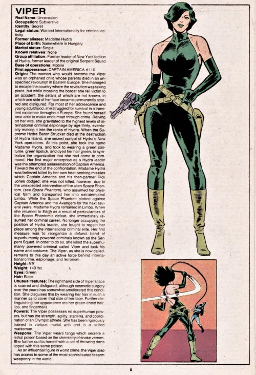 Poison Generation-Viper-Official Handbook of the Marvel Universe V1 #12