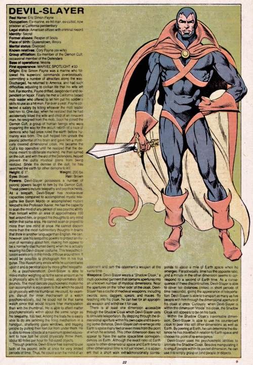 Dimensional Storage-Devil-Slayer-Official Handbook of the Marvel Universe V1 #3