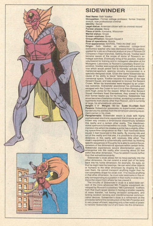Portal Creation-Sidewinder-Official Handbook of the Marvel Universe V1 #10