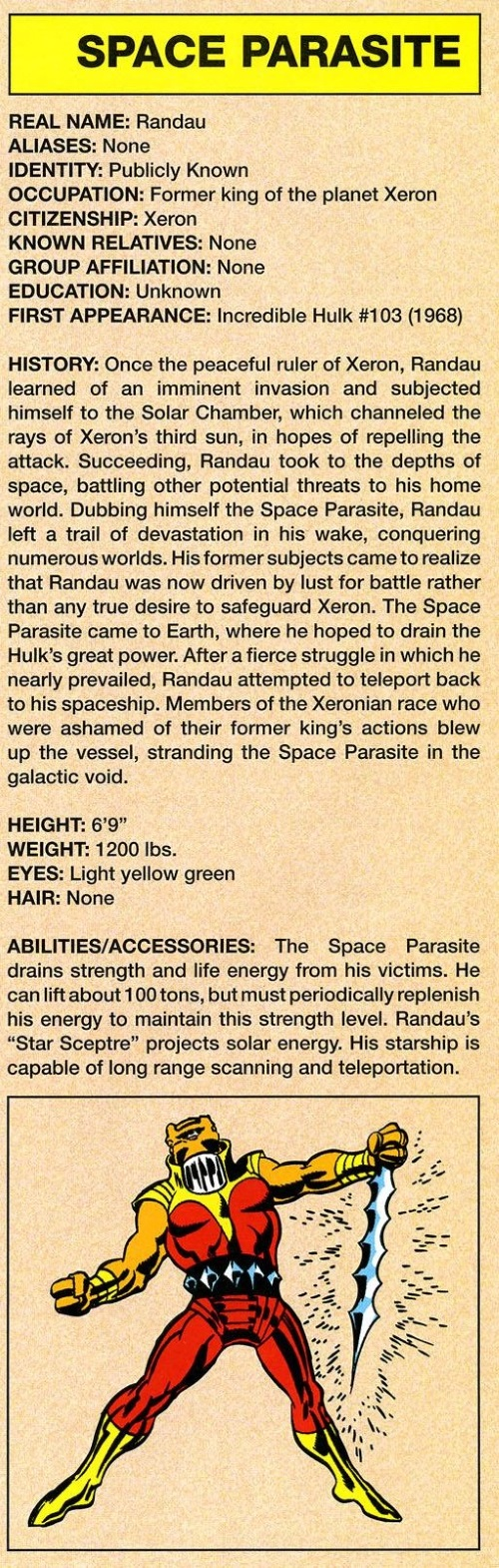 Power Absorption-Space Parasite-Marvel Legacy The 's Handbook #1 (1960)